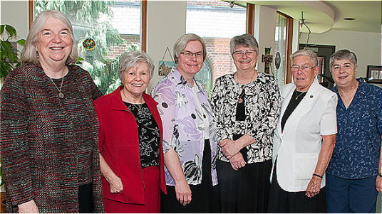 (l to r) Sisters Mary Clark, Kathleen Persson, Andrea Westkamp, Joanna Burley, Henry Marie Zimmermann, Lisbeth Cruz