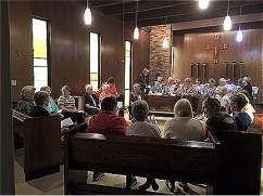 Sisters who had resided at Peace House joined the new owners for a celebration in the house's chapel.