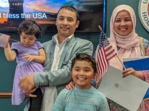 Sara and her family at Citizen Ceremony